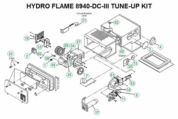 Atwood / HydroFlame Furnace Model 8940-DC-III Tune-Up Kit on