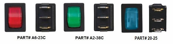 12 VDC Mini Illuminated Switch, On / Off, Red, Green or Blue Lit