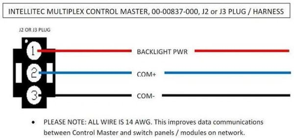 Intellitec Multiplex Control Master J2 or J3 Plug / Harness