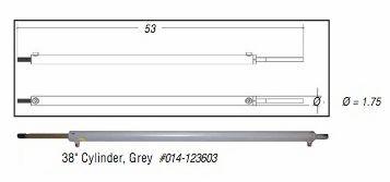 38 Inch Hydraulic Cylinder, Gray, 123603