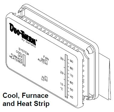 Dometic Analog Thermostat, Cool/Furnace/Heat Strip, 3106995.057