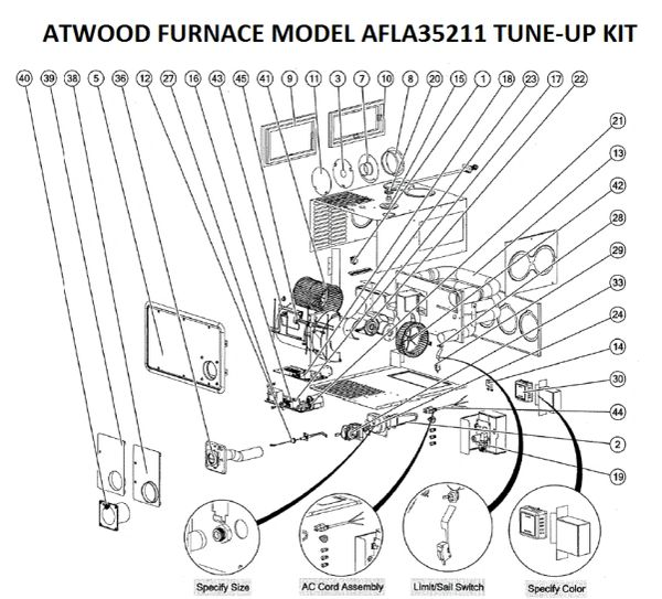 Atwood / HydroFlame Furnace Model AFLA35211 Tune-Up Kit