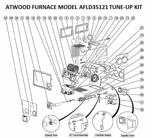 Atwood / HydroFlame Furnace Model AFLD35121 Tune-Up Kit