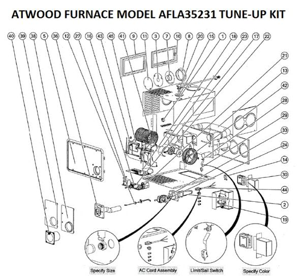 Atwood / HydroFlame Furnace Model AFLA35231 Tune-Up Kit