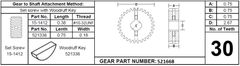 Power Gear Slide Out Gear Spur Assembly, 30 Teeth, 521668