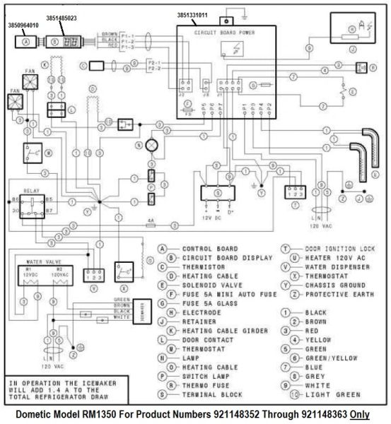 dometic refrigerator printed circuit board 3851485023