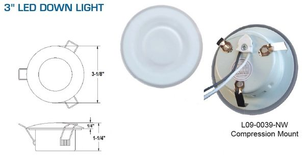 3 Inch 15 LED Overhead Light L09-0039NW