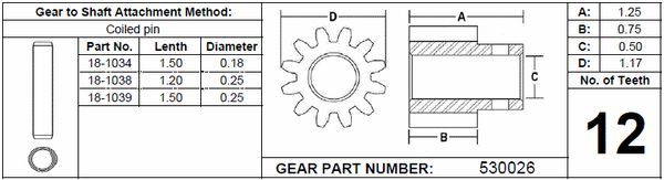 Power Gear Slide Out Gear Spur Assembly, 12 Teeth, 530026