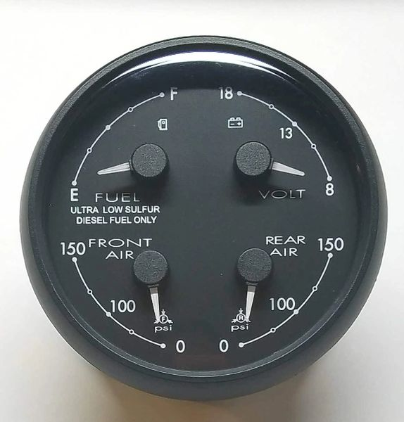 Medallion Fuel / Volt / Front Air / Rear Air Dash Gauge 8653-50002-01