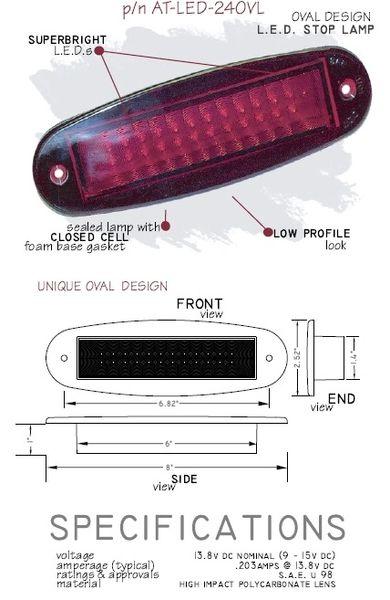 LED Oval Third Brake Light AT-LED-24OVL