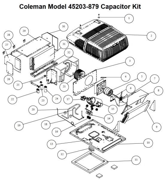 Coleman Air Conditioner Model 45203-879 Capacitor Kit