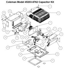 Coleman Air Conditioner Model 45203-8762 Capacitor Kit