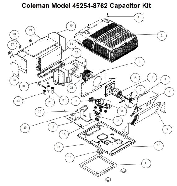 Coleman Air Conditioner Model 45254-8762 Capacitor Kit