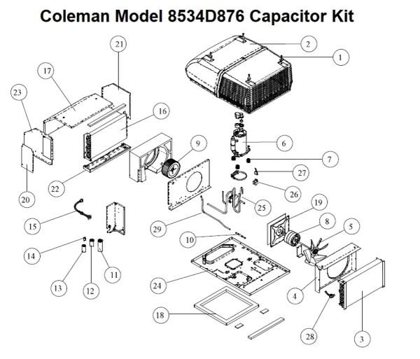 Coleman Heat Pump Model 8534D876 Capacitor Kit