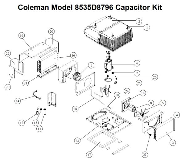 Coleman Heat Pump Model 8535D8796 Capacitor Kit