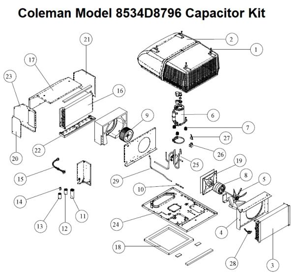 Coleman Heat Pump Model 8534D8796 Capacitor Kit