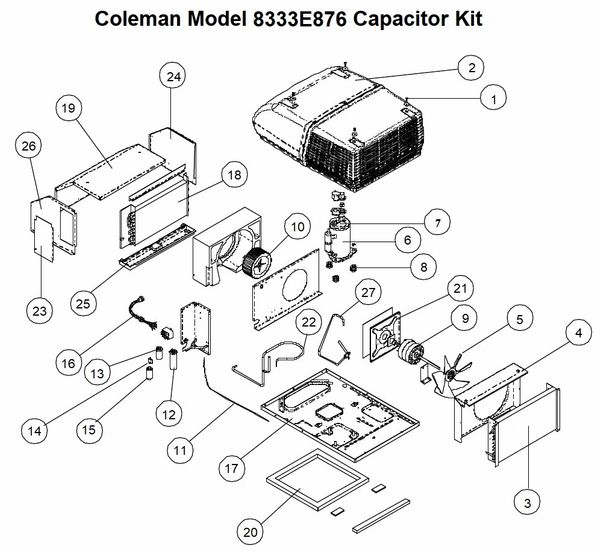 coleman air conditioner model 8333e876 capacitor kit