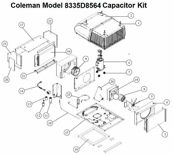 Coleman Air Conditioner Model 8335d8564 Capacitor Kit Pdxrvwholesale