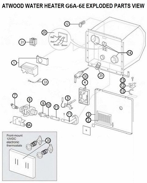 Atwood Water Heater Model G6A-6E Rebuild Kits
