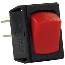 12 VDC Mini Switch, On / Off, Black With Red Rocker