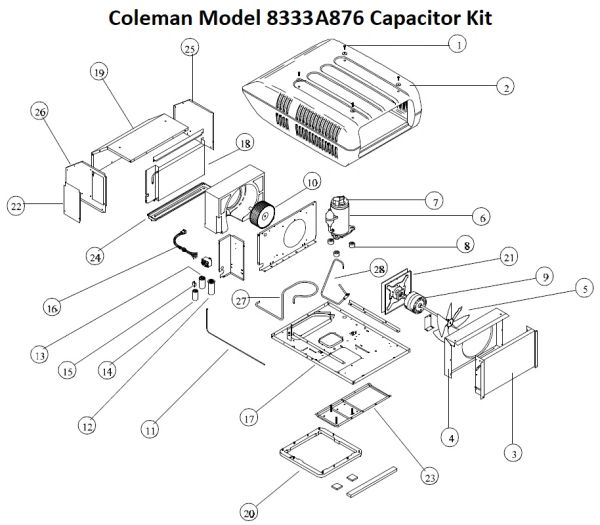 Coleman Air Conditioner Model 8333A876 Capacitor Kit