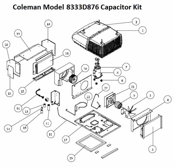 Coleman Air Conditioner Model 8333d876 Capacitor Kit Pdxrvwholesale