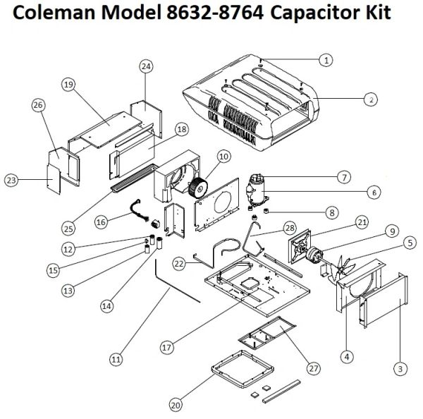 Coleman Air Conditioner Model 8632-8764 Capacitor Kit