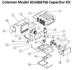 Coleman Heat Pump Model 8534B8796 Capacitor Kit