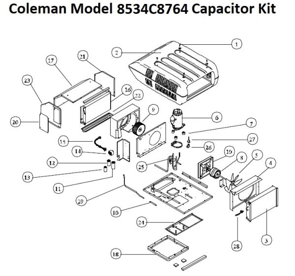 Coleman Heat Pump Model 8534C8764 Capacitor Kit