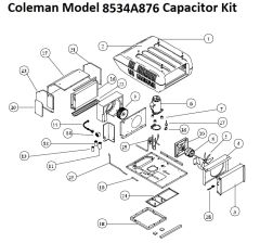 Coleman Heat Pump Model 8534A876 Capacitor Kit