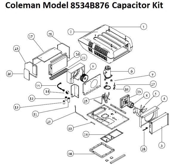 Coleman Heat Pump Model 8534B876 Capacitor Kit