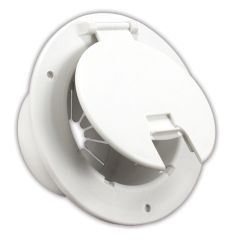 JR Products Polar White Deluxe Round Electric Cable Hatch with Back 541-2-A