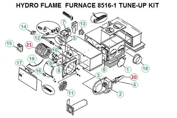 Atwood / HydroFlame Furnace Model 8516-I Tune-Up Kit