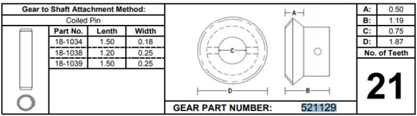 Power Gear / Lippert 21 Tooth Gear 521129