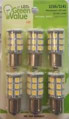 1156 / 1141 LED Bulbs, 27 LED's, 250 Lumens, Natural White, 6 Pack, 25010V
