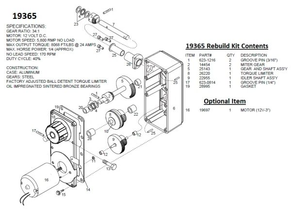 Barker Slide Out Power Head Drive Assembly 19365 Rebuild Kit