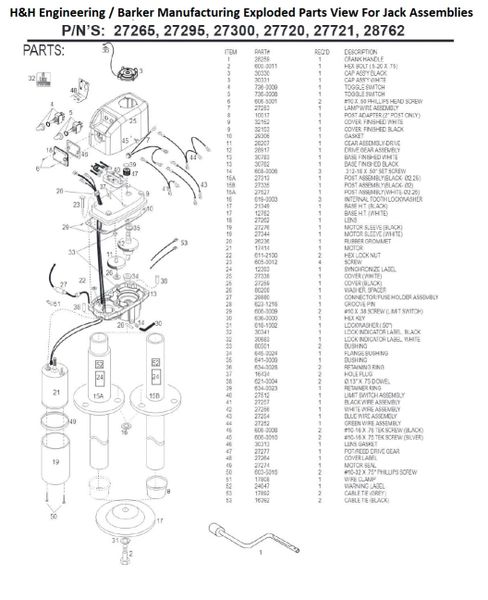Barker Jack 27721 Rebuild Kit