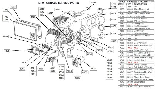 Dometic Furnace Model DFMD16111 Tune-Up Kit