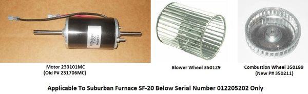 Suburban Furnace Model SF-20 Blower Motor / Blower Wheel / Combustion Wheel Kits