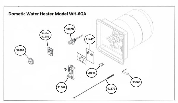Dometic Water Heater Model WH-6GA Tune-Up Kit