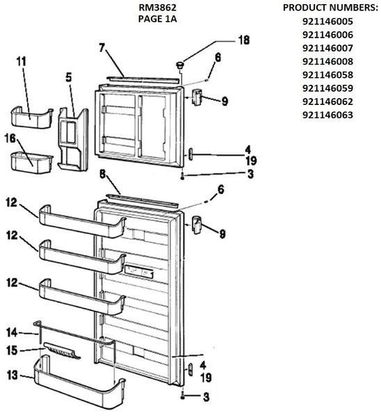 Dometic Refrigerator Model RM3862 Repair Kits