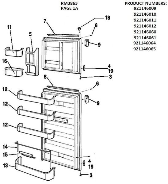 Dometic Refrigerator Model RM3863 Repair Kits