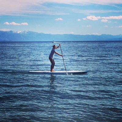 Paddleboarding on Lake Tahoe is just one of my favorite pastimes.