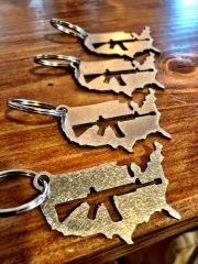 America/Rifle- Stainless Steel Keychain