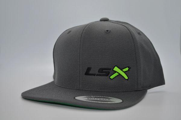 LSX - Dark Grey Flat Brim Snapbacks (Black, Neon Green, Black)