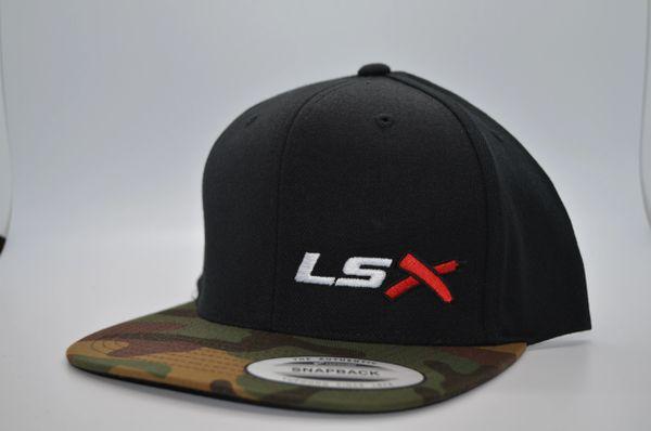 LSX - Black/Camo Flat Brim Snapbacks (White, Red, Black)