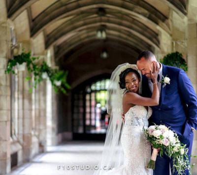 Loving bride and groom just married Knox college