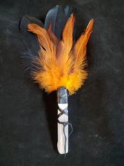 Smudging Feather Wand: Black/Pumpkin