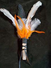 Smudging Feather Wand: Black/White/Orange