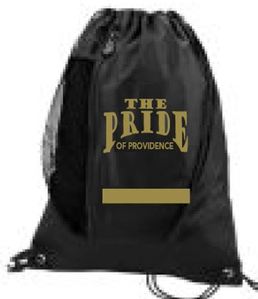 Y. Drawstring bag with area for name